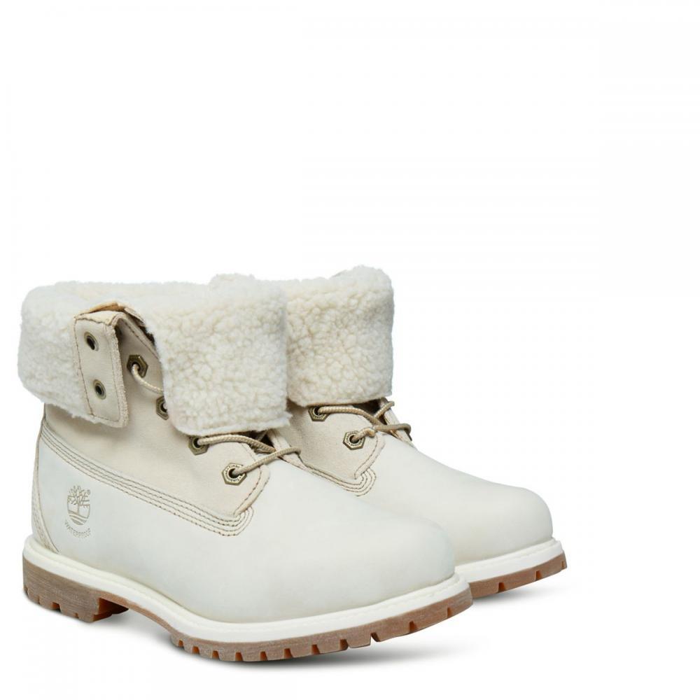 Stiefel Weiß Timberland Authentics Teddy Fleece Fold Down Damen Winter White JWannemacher